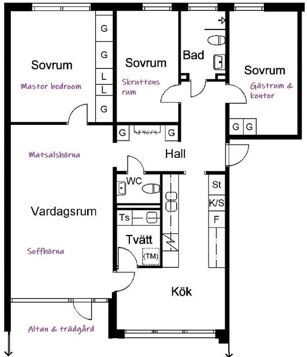 Planlösning på vår lägenhet i Karlstad